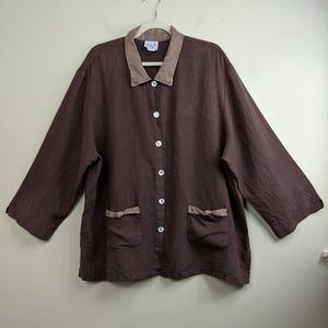 Donna Brown Linen Button Front Top 3/4 Sleeves XL